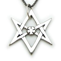 The sterling silver double pentagram pendant alythea arts sterling silver unicursal hexagram mozeypictures Images
